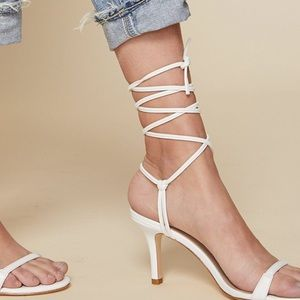 REVOLVE LPA Hazel White Leather Sandal Heels